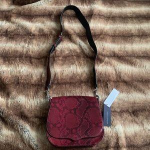 Rebecca Minkoff Red Snakeskin Sunday Saddle Bag